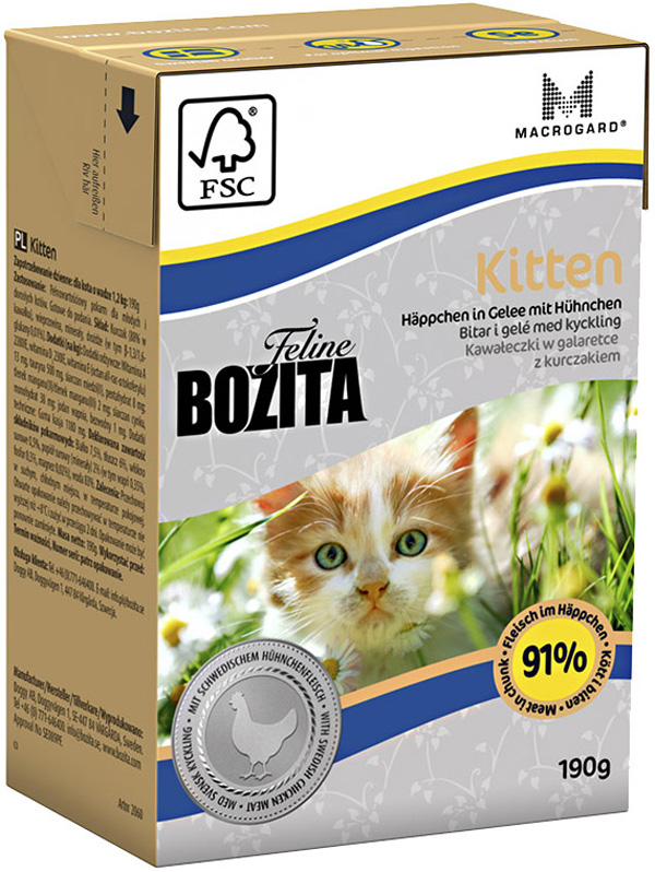 Bozita Function Kitten In Jelly Chicken для котят с курицей в желе 190 гр (190 гр) bozita mini canned food for cats pieces in jelly poultry 6 190 g
