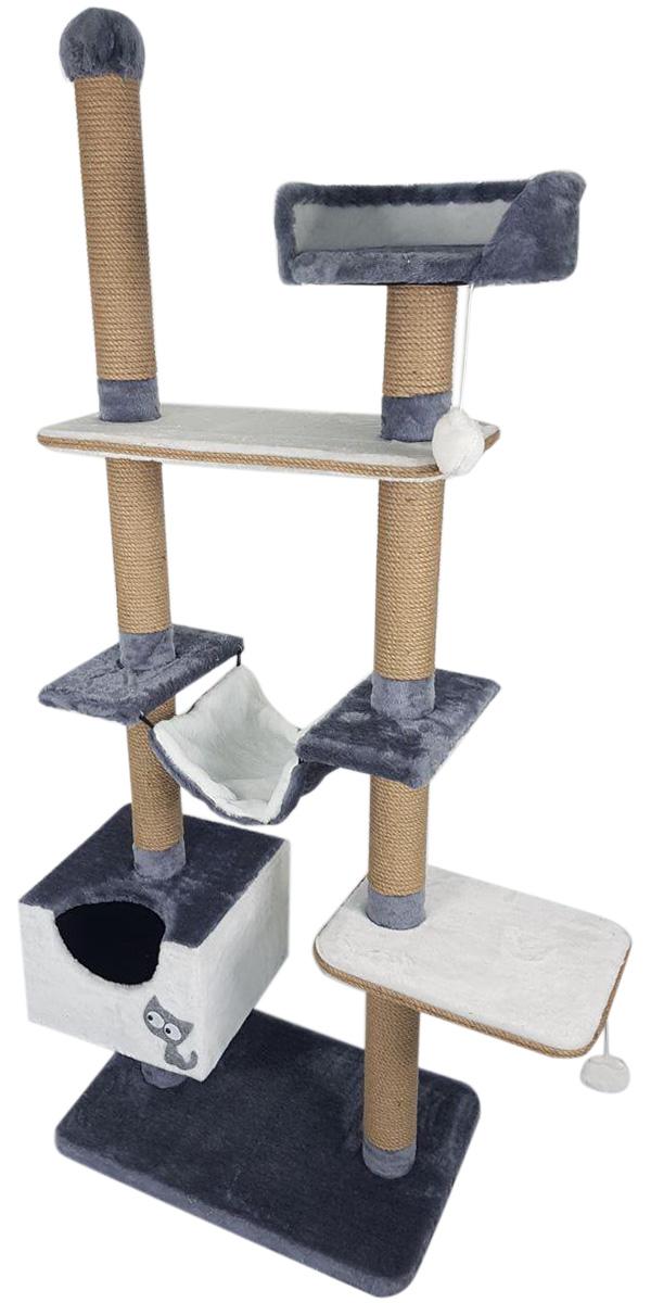 Комплекс для кошек многоуровневый Зооник серый мех/пенька 110 х 47 х 190 см (1 шт)