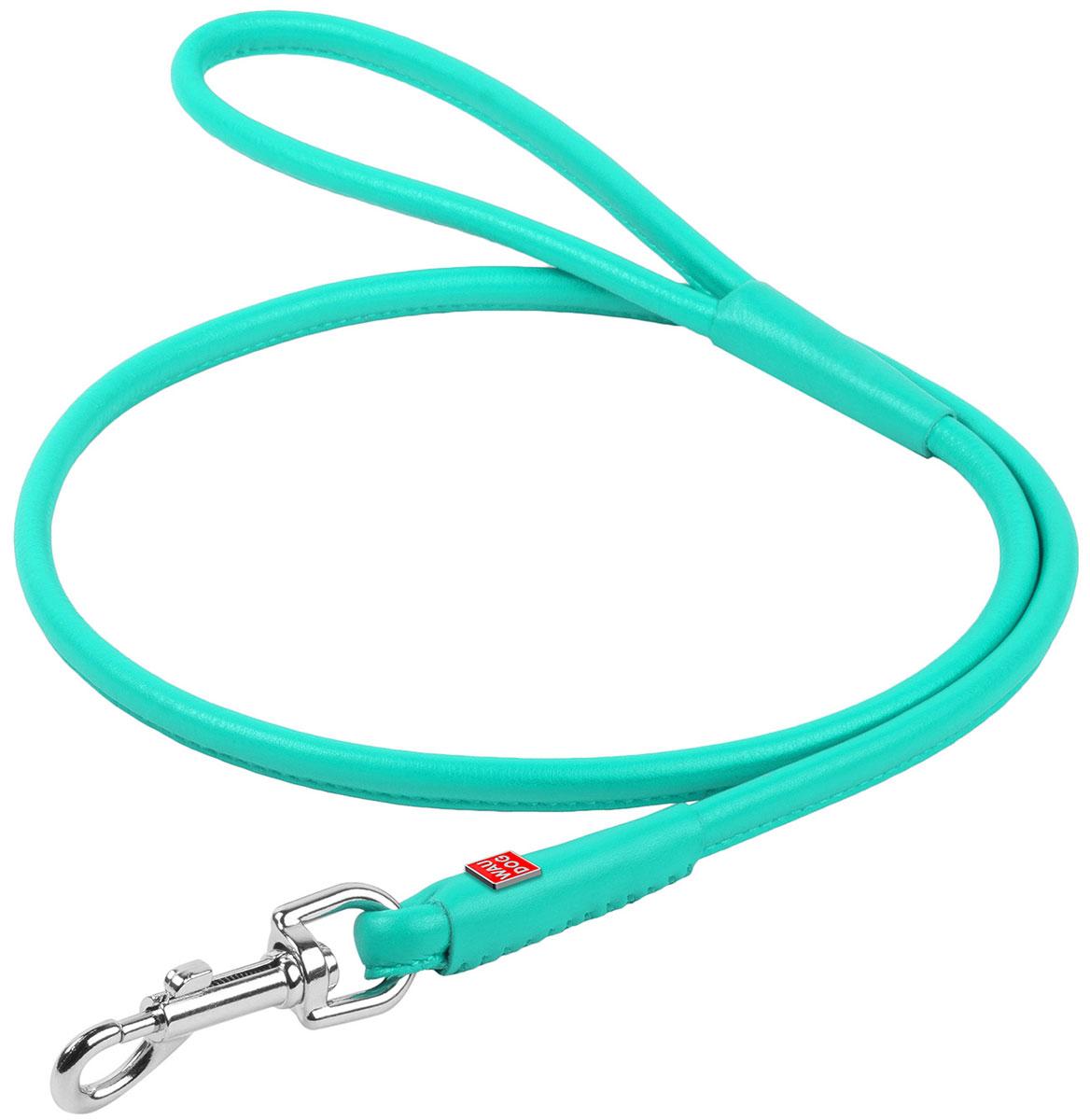 Поводок кожаный круглый для собак ментол 10 мм 122 см Collar WauDog Glamour (1 шт) поводок светящийся водостойкий для собак ментол 25 мм 183 см collar waudog waterproof 1 шт