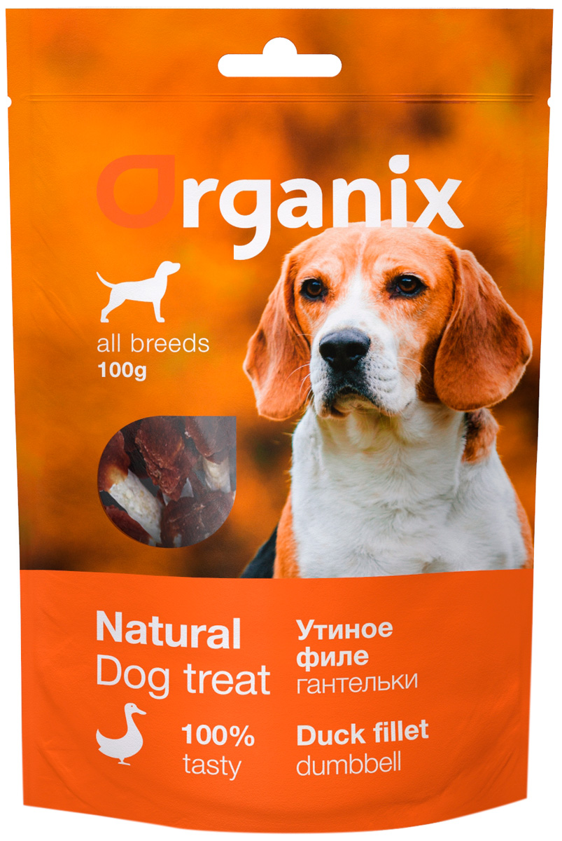 Лакомство Organix для взрослых собак всех пород гантельки утиные 100 гр (1 шт)