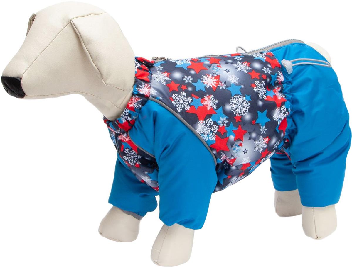 Osso Fashion комбинезон для собак маленьких пород на синтепоне Снежинка синий/красный для мальчиков (37)