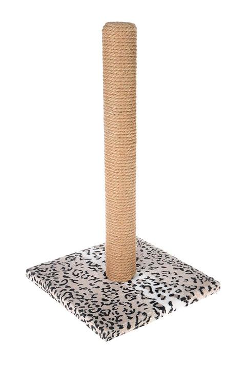 Когтеточка Столбик 65 см Пушок джут мех бежевый леопард (1 шт)