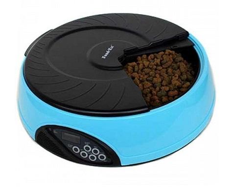Автоматическая кормушка для кошек и собак на 4 кормления с ЖК-дисплеем Feed-Ex голубая (1 шт).