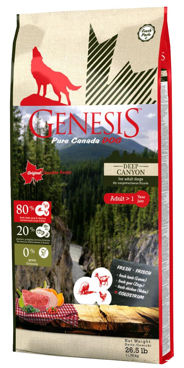 Genesis Pure Canada Deep Canyon Adult беззерновой для взрослых собак всех пород с курицей, козой и ягненком (2,268 кг)
