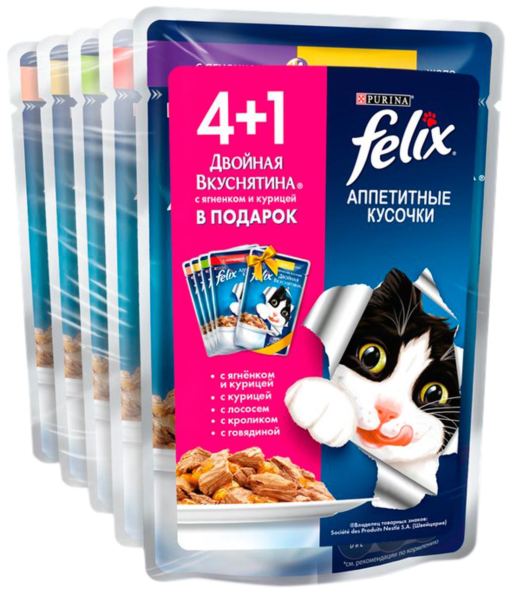 Felix набор паучей для взрослых кошек с курицей, лососем, кроликом, говядиной, ягненком и курицей 4 + 1 шт (1 уп)