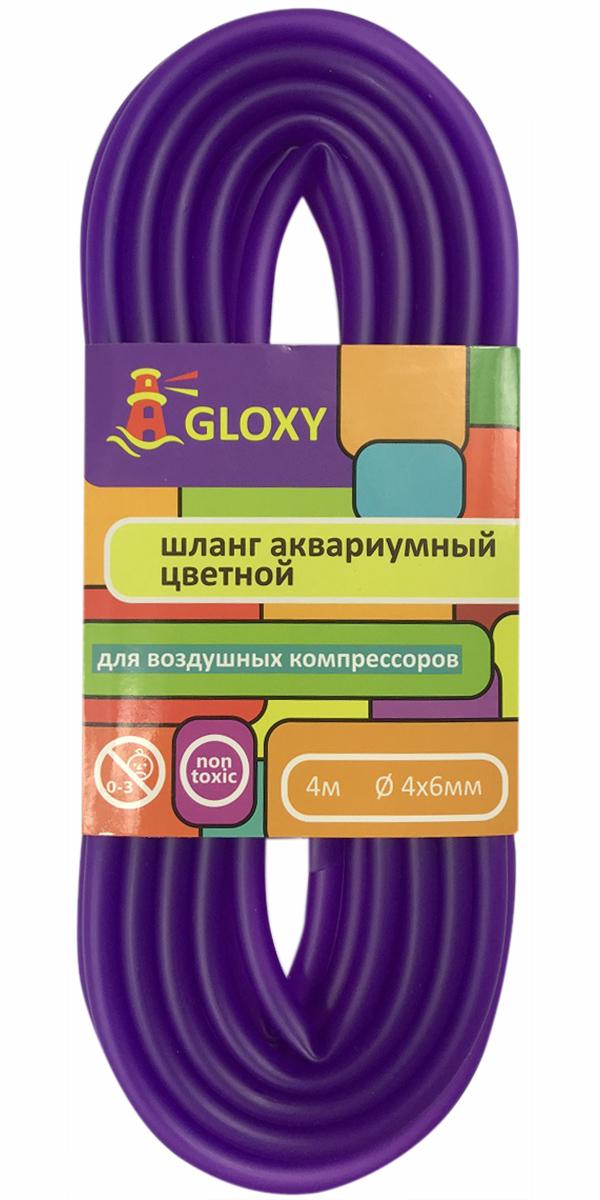 цена на Шланг для подачи воздуха в аквариум фиолетовый 4/6 мм х 4 м Gloxy (1 шт)