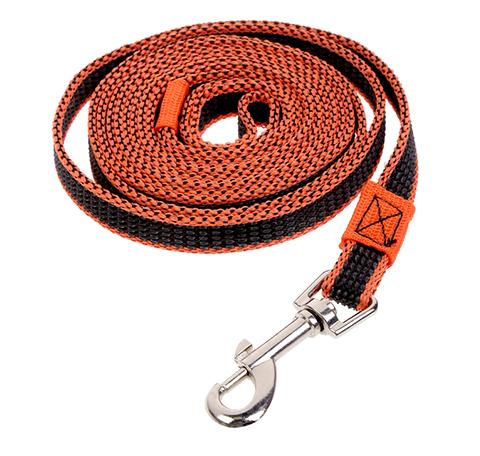 Поводок для собак 20 мм капроновый с двойной латексной нитью оранжевый 3 м Зооник (1 шт)