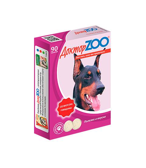 доктор Zoo мультивитаминное лакомство для собак со вкусом говядины и биотином (90 таблеток)