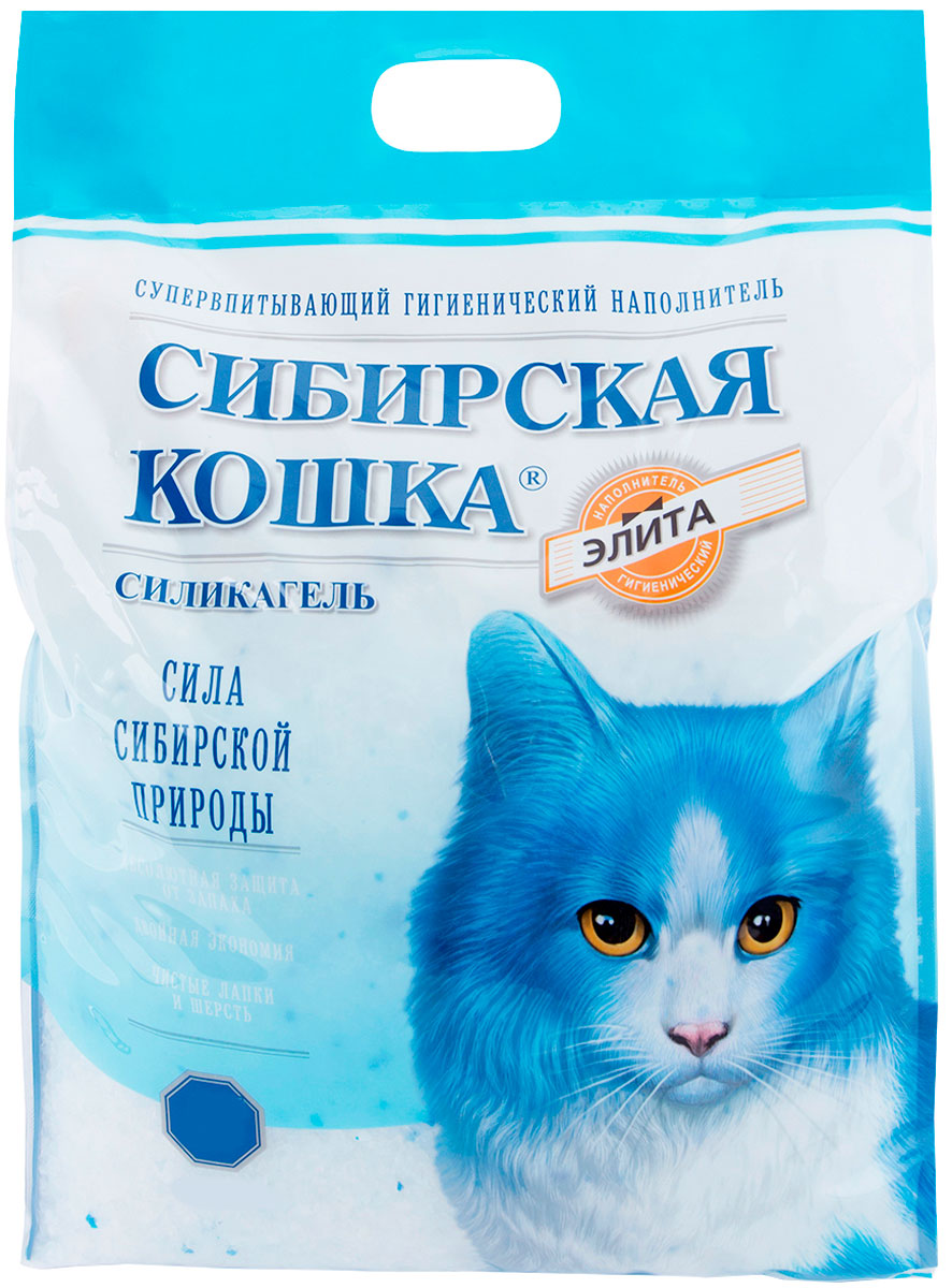 сибирская кошка элитный наполнитель силикагелевый для туалета кошек (8 + 8 л)