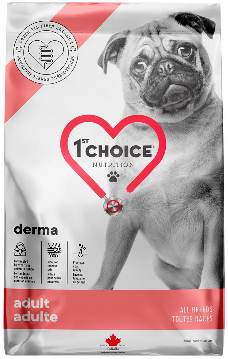 1st Choice Care Dog Adult All Breeds Derma беззерновой для взрослых собак всех пород с чувствительной кожей с лососем (18 + 18 кг)