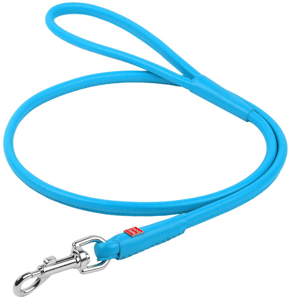 Поводок кожаный круглый для собак синий 4 мм 122 см Collar WauDog Glamour (1 шт)