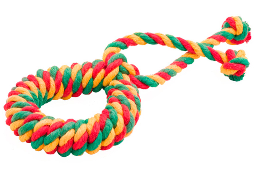 Игрушка для собак Doglike Dental Knot Кольцо канатное цветное среднее (1 шт)