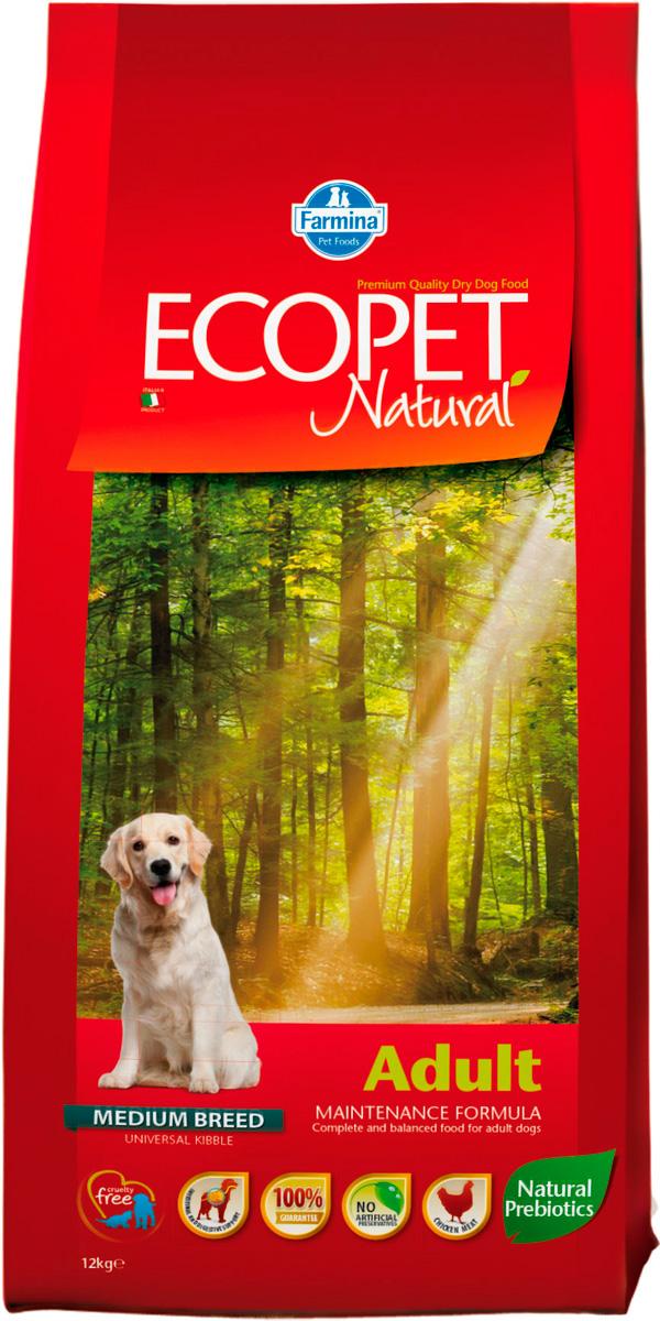 Ecopet Natural Adult Medium для взрослых собак средних пород с курицей (12 кг)
