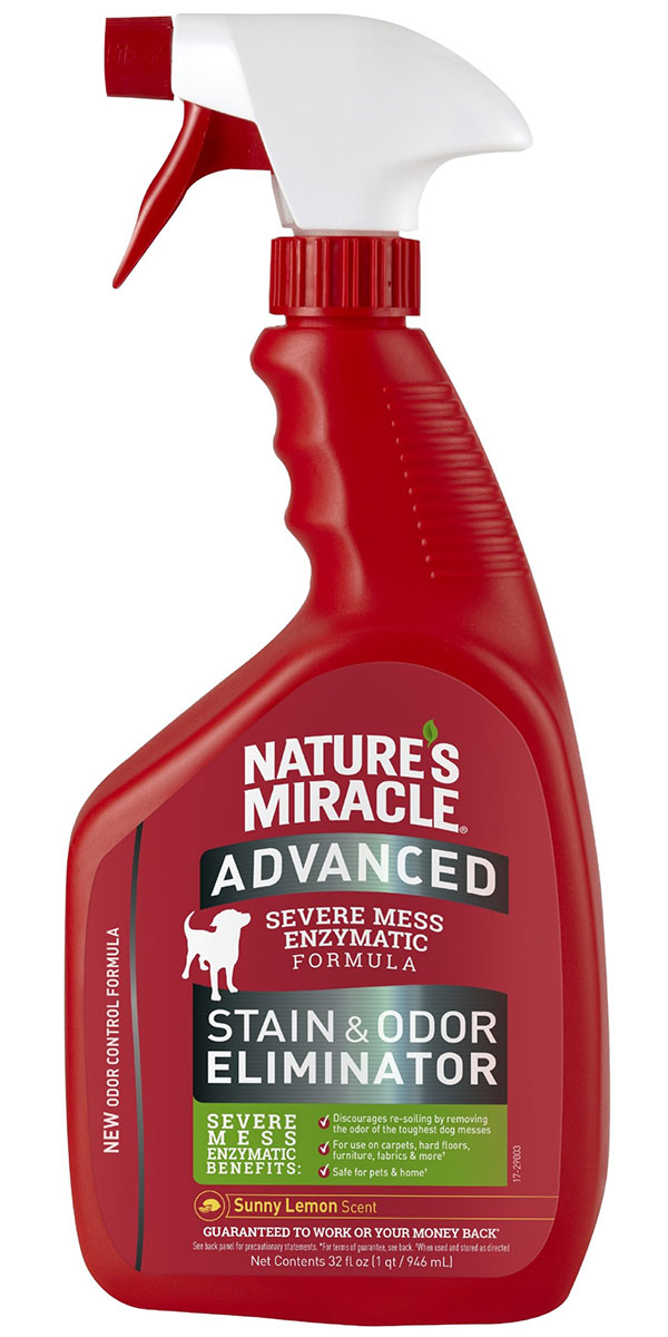 8 in 1 Nature's Miracle Advanced спрей уничтожитель пятен и запахов для собак с усиленной формулой (945 мл).
