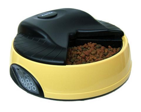 Автоматическая кормушка для кошек и собак на 4 кормления с ЖК-дисплеем и емкостью для льда Feed-Ex желтая (1 шт).