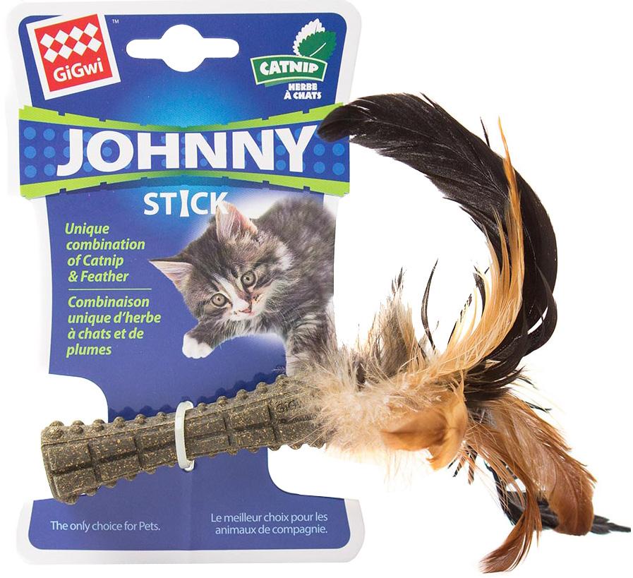 Игрушка для кошек GiGwi Johnny Stick кошачья мята с перьями прессованная 8 см (1 шт)