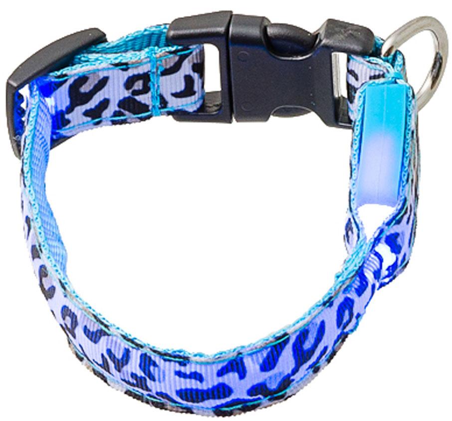Ошейник для собак светящийся Леопард V.I.Pet, 18 – 28 см/15 мм (1 шт)