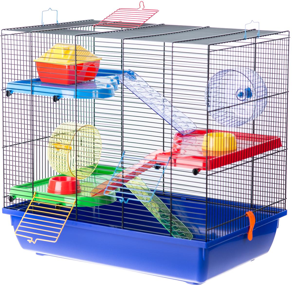 Клетка для грызунов Inter-Zoo G085 Teddy Gigant Ii с пластиковыми цветными аксессуарами 58 х 38 х 55 см (1 шт) фото