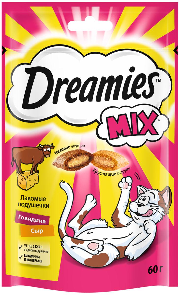 Лакомство Dreamies Mix для кошек подушечки с говядиной и сыром (60 гр).
