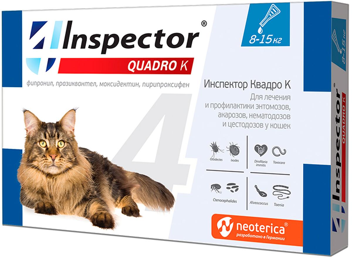 Inspector Quadro K капли для кошек весом от 8 до 15 кг против внутренних и внешних паразитов  (1 пипетка)