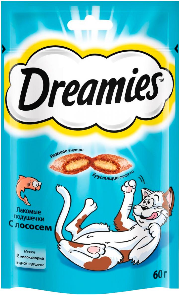 Лакомство Dreamies для кошек подушечки с лососем (60 гр).