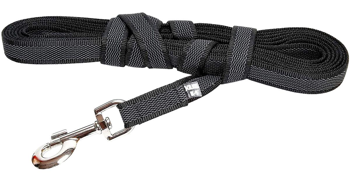 Поводок для собак до 50 кг Julius-K9 Color & Gray Super-grip с ручкой черно-серый 20 мм 300 см (1 шт)