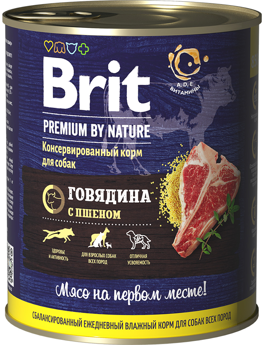 Фото - Brit Premium By Nature Dog для взрослых собак с говядиной и пшеном (850 гр) dog wet food brit premium canned food for dogs pate beef and liver 850 g