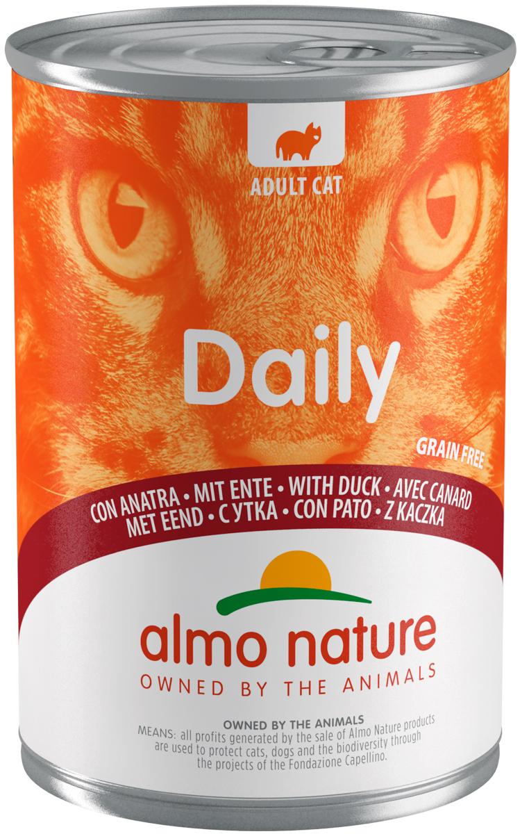 Almo Nature Cat Daily Menu беззерновые для взрослых кошек с уткой 400 гр (400 гр х 12 шт)