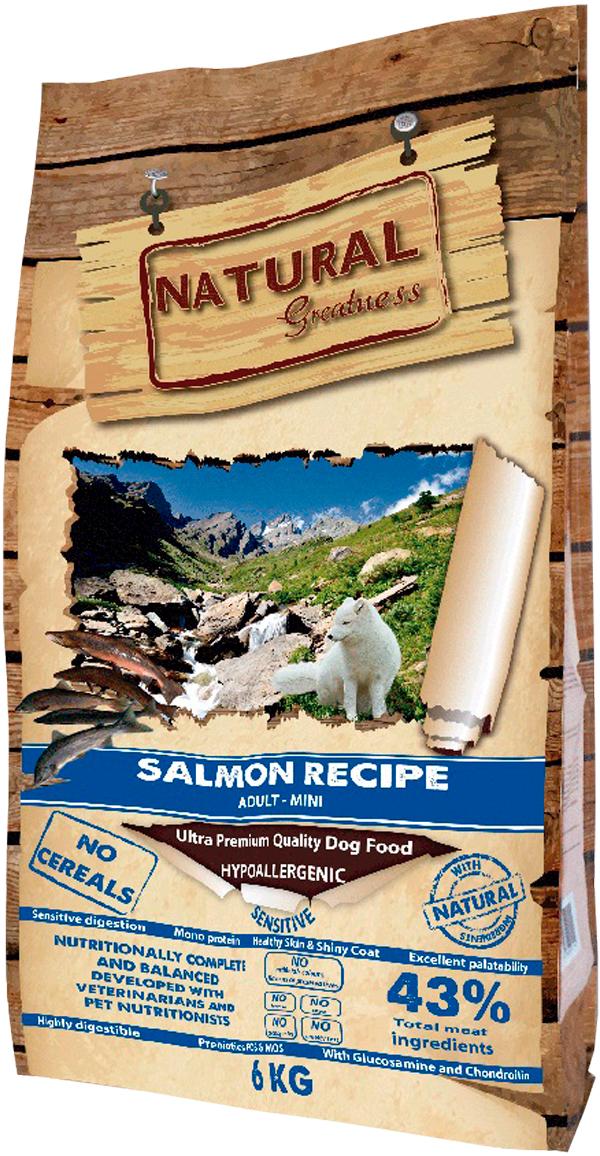 Natural Greatness Salmon Recipe Sensitive Adult Mini монобелковый для взрослых собак маленьких пород с чувствительным пищеварением с лососем (2 кг) natural greatness turkey recipe беззерновой для взрослых собак всех пород с чувствительным пищеварением с индейкой 2 кг