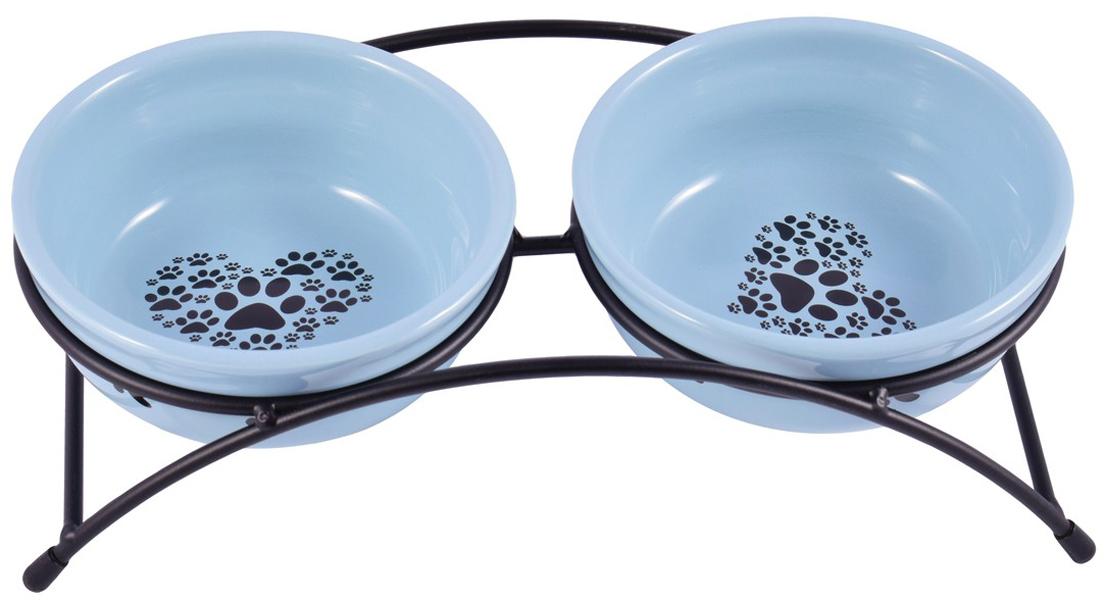 Керамические миски на подставке КерамикАрт синие (2 х 0,29 л)