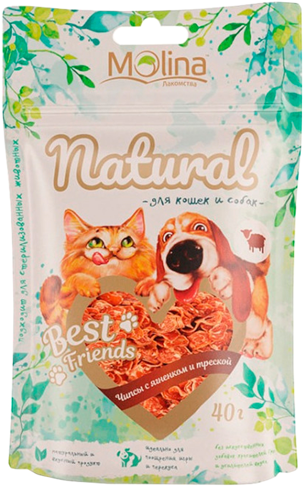 Лакомство Molina Natural Best Friends для собак и кошек чипсы с ягненком и треской 40 гр (1 шт)