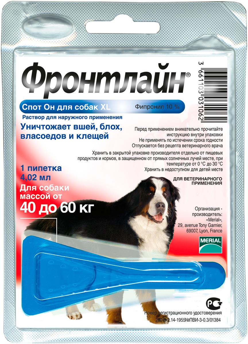 Фронтлайн спот он Xl – капли для собак весом от 40 до 60 кг против клещей, блох, вшей и власоедов (1 пипетка по 4,02 мл) (1 пипетка) фото