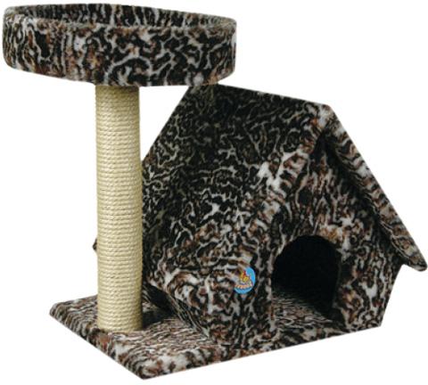 Дом для кошек с лежанкой Зооник цветной мех 70 х 48 х 65 см (1 шт)