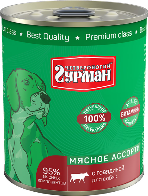 четвероногий гурман мясное ассорти для взрослых собак с говядиной (100 гр)