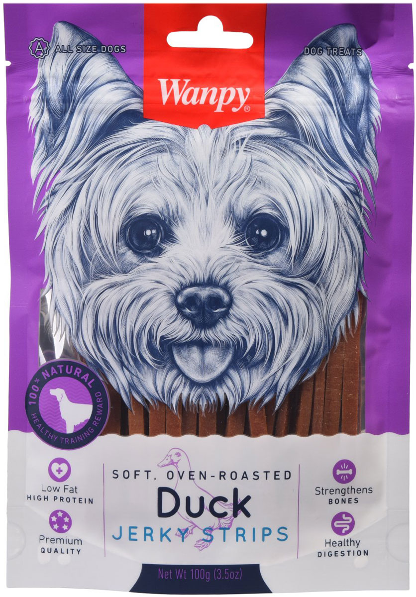 Лакомство Wanpy Dog для собак соломка утиная (100 гр)