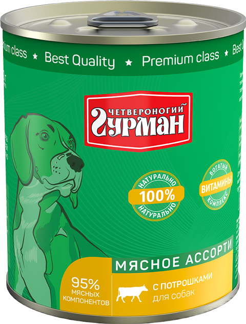 четвероногий гурман мясное ассорти для взрослых собак с потрошками (100 гр) четвероногий гурман консервы мясное ассорти с потрошками для собак 100 г