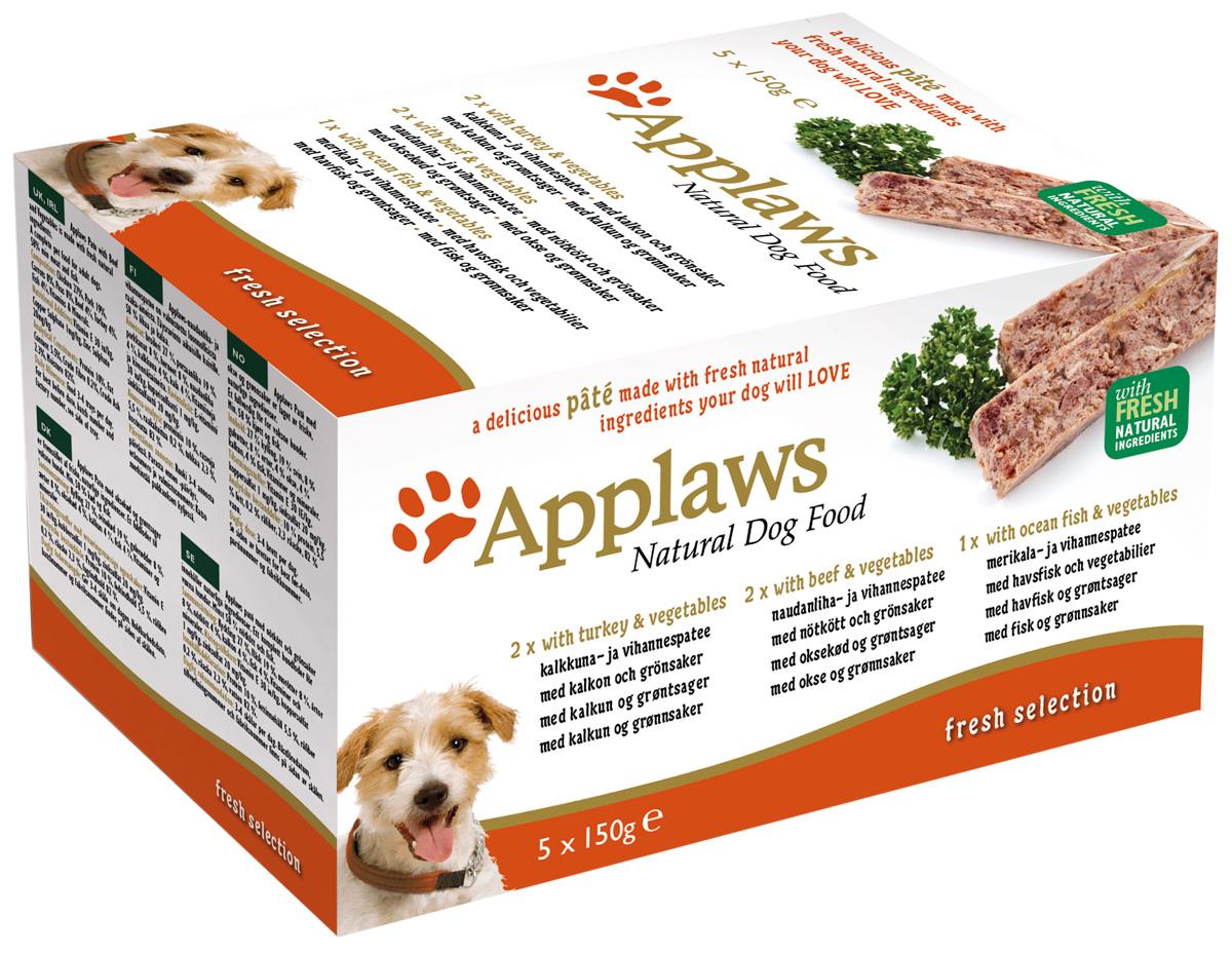 Applaws набор ламистеров для взрослых собак с индейкой, говядиной и океанической рыбой 5 шт х 150 гр (1 уп)