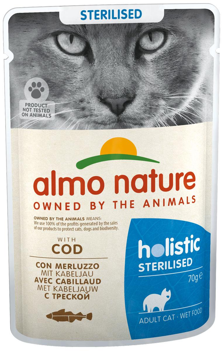 Almo Nature Cat Functional Sterilised для взрослых кастрированных котов и стерилизованных кошек с треской 70 гр (70 гр)