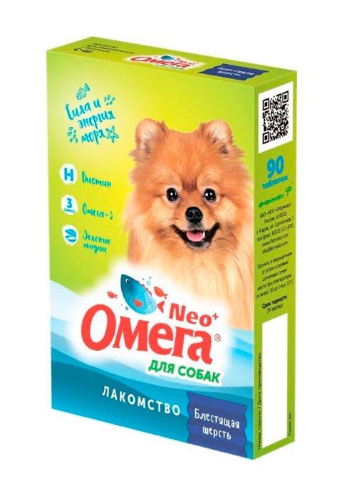 Лакомство омега Neo+ Блестящая шерсть для собак с биотином Астрафарм (90 шт)