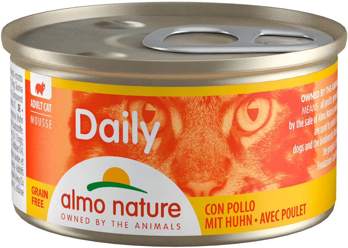 Almo Nature Cat Daily Menu для взрослых кошек нежный мусс с курицей 85 гр (85 гр х 24 шт)