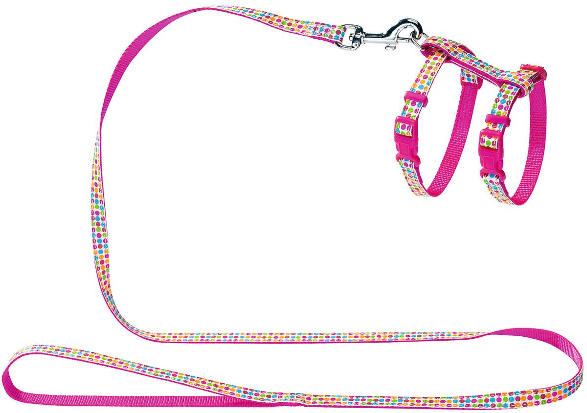 Шлейка для собак и кошек Hunter Smart Seventies нейлон розовая (1 шт)