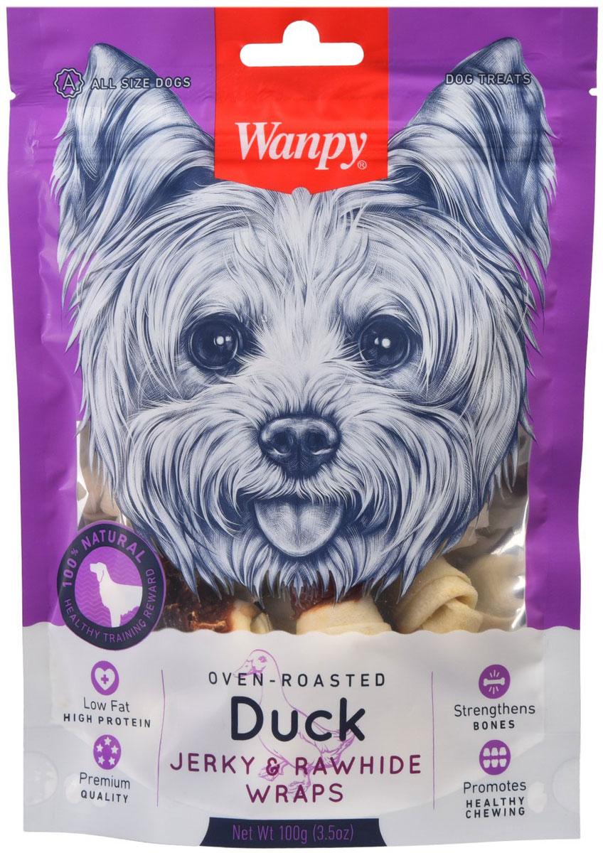 Лакомство Wanpy Dog для собак кости из сыромятной кожи с утиным мясом (100 гр)