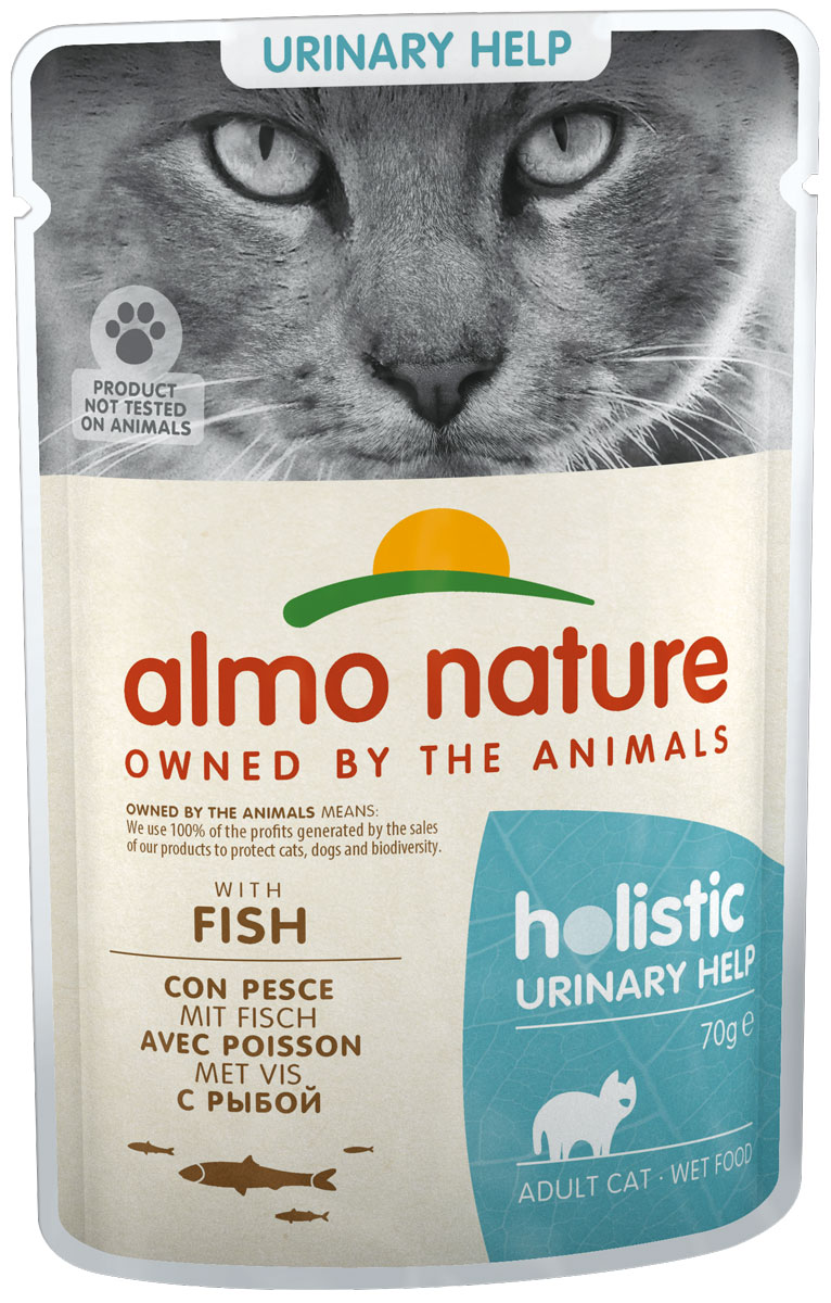 Almo Nature Cat Holistic Urinary Support для взрослых кошек при мочекаменной болезни с рыбой  (70 гр х 30 шт).