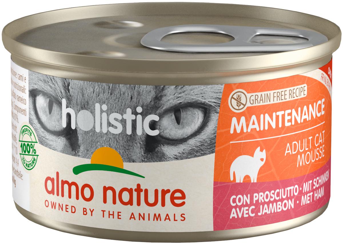 Almo Nature Cat Holistic Maintenance беззерновые для взрослых кошек мусс с ветчиной 85 гр (85 гр х 24 шт)