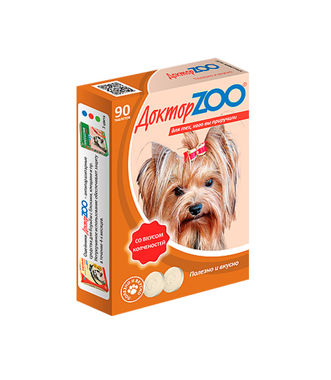 доктор Zoo мультивитаминное лакомство для собак со вкусом копченостей и биотином (90 таблеток)