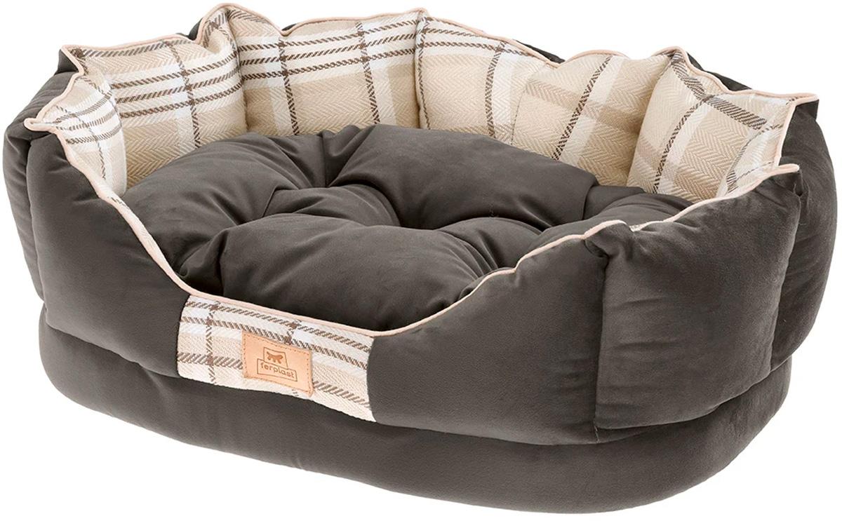 Софа для собак и кошек Ferplast Charles 50 с двусторонней подушкой коричневая 45 х 35 х 17 см (1 шт)
