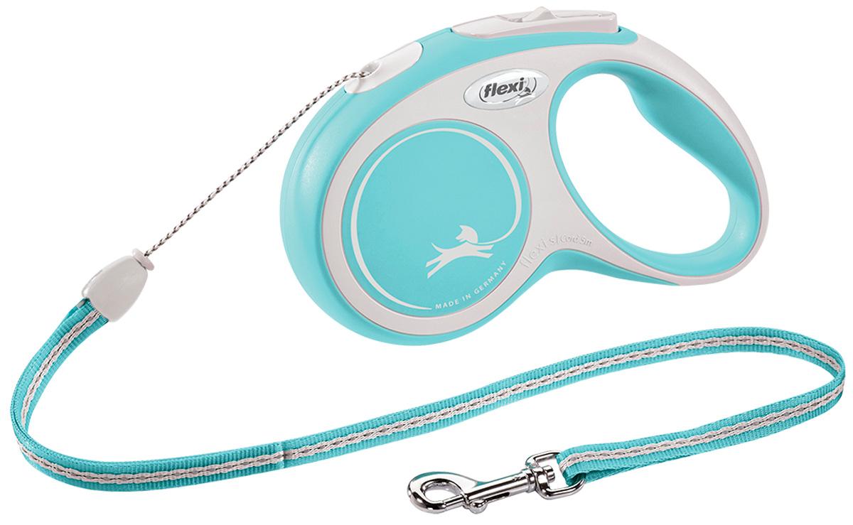 Фото - Flexi New Comfort Cord тросовый поводок рулетка для животных 5 м размер S голубой (1 шт) flexi new comfort tape ременной поводок рулетка для животных 5 м размер s синий 1 шт