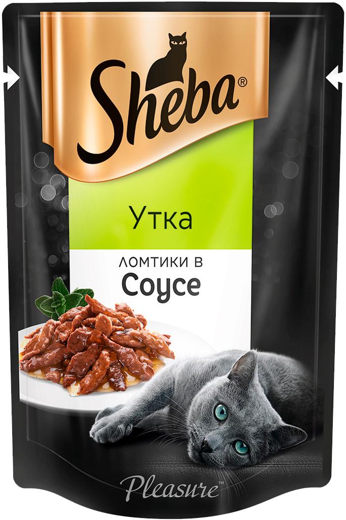 Sheba Pleasure для взрослых кошек ломтики в соусе с уткой 85 гр (85 гр х 24 шт) sheba pleasure для взрослых кошек ломтики в соусе с курицей и кроликом 85 гр 85 гр