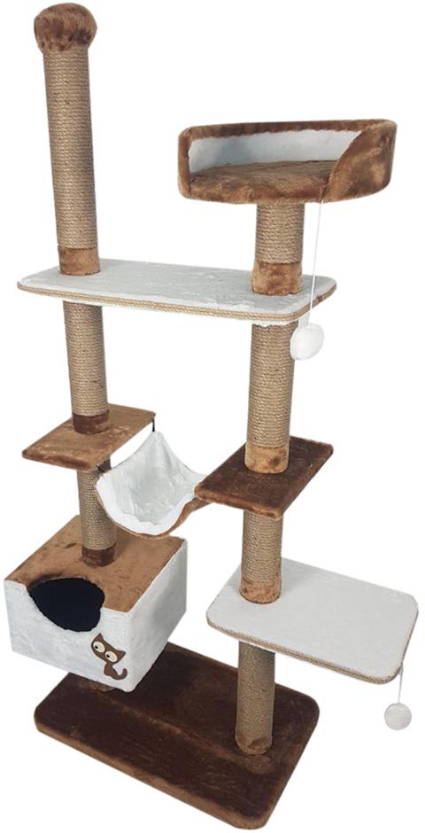 цена на Комплекс для кошек многоуровневый Зооник коричневый мех/пенька 110 х 47 х 190 см (1 шт)