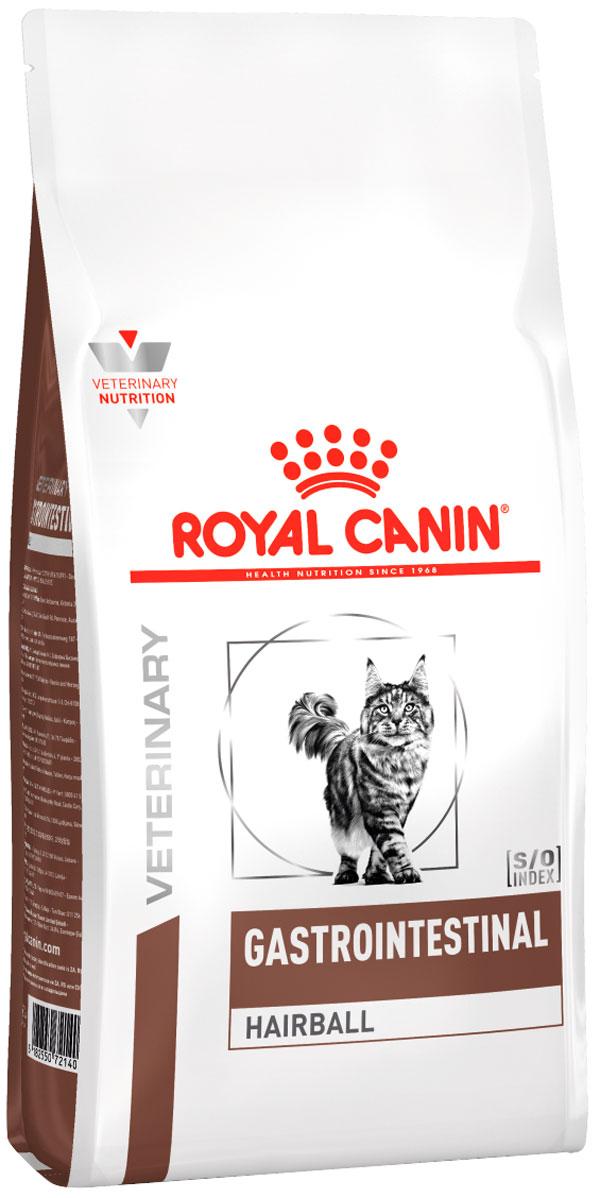 Royal Canin Gastrointestinal Hairball для взрослых кошек при заболеваниях желудочно-кишечного тракта для вывода шерсти (0,4 кг) royal canin gastro intestinal puppy для щенков при заболеваниях желудочно кишечного тракта 195 гр 195 гр